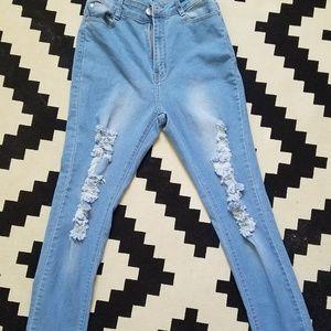 Denim - High Waisted Skinny Jeans